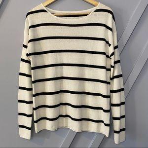Halogen Linen black white stripe long sleeve top